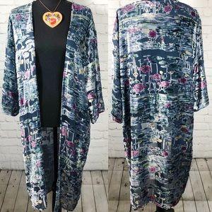 Anthropologie Sheer Velvet Print  Kimono OS